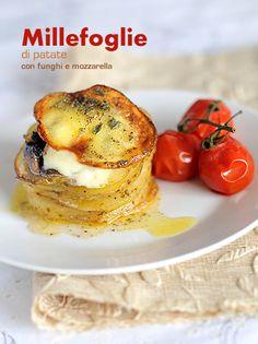 Millefoglie di patate funghi e mozzarella