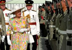 October 1993: Queen Elizabeth II inspects a guard of honour on her arrival at RAF Akrotiri, Cyprus