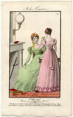 Two ladies, showing the front and back of the dress 1823 L'Indiscret