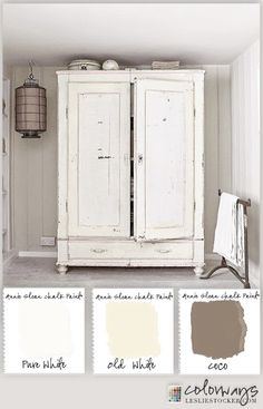 Maybe my armoire can look okay painted. Warm White Armoire Annie Sloan Chalk Paint® Old White, Pure White, Coco Chalk Paint Furniture, Furniture Projects, Furniture Makeover, Diy Furniture, Trendy Furniture, Chalk Paint Wardrobe, Refinished Bedroom Furniture, Annie Sloan Painted Furniture, Mirror Furniture