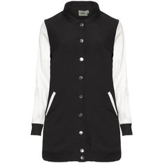 Veto Black / White Plus Size Long line varsity jacket (16 KWD) ❤ liked on Polyvore featuring outerwear, jackets, coats, black, plus size, plus size womens jackets, long white jacket, white varsity jacket, plus size faux leather jacket and long jacket