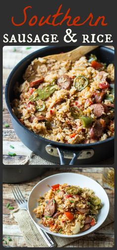 One Pot Spicy Southern Sausage and Rice – The Wanderlust Kitchen One Pot Spicy Southern Sausage & Rice _ You guys. This recipe. One pan & 30 minutes is all you need to make this Spicy Southern Kielbasa Sausage & Rice! Sausage Rice, Spicy Sausage, Jalapeno Sausage Recipe, Andouille Sausage Recipes, Kielbasa Sausage, Veggie Sausage, Pork Recipes, Cooking Recipes, Healthy Recipes