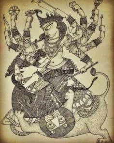 Durga Painting, Kerala Mural Painting, Indian Art Paintings, Amazing Paintings, Madhubani Art, Madhubani Painting, Doddle Art, Goddess Art, Durga Goddess