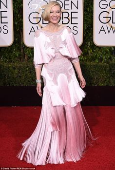 Turning heads: Cate Blanchett opted for an unusual pale pink and fringe design to attend the 2016 Golden Globes