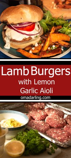 Tender lamb burgers, topped with a lemony/garlic aioli is flavor packed and delicious! Lamb Burger Recipes, Lamb Recipes, Cooking Recipes, Cooking Tips, Vegetarian Barbecue, Vegetarian Recipes, Healthy Recipes, Vegetarian Cooking, Free Recipes