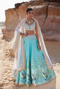 have brought every single design of Anita Dongre lehenga for you to have a look. Anita Dongre Lehengas are known for their innovative new design Blue Lehenga, Lehenga Style, Indian Lehenga, Lehenga Choli, Lehenga Blouse, Anita Dongre, Indian Wedding Outfits, Indian Outfits, Indian Clothes
