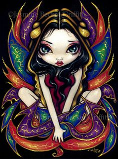 Magnificent Wings colorful gold fairy art print by by strangeling, $29.99