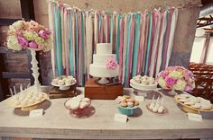 Very cool, pretty, simple display for a small wedding