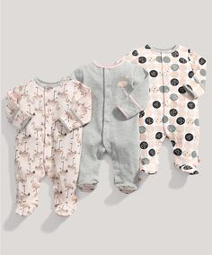 Girls Essentials 3 Pack of Flamingo All in Ones - Multipacks - Mamas & Papas