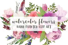 Watercolor Flowers by GraphicRain on @creativemarket