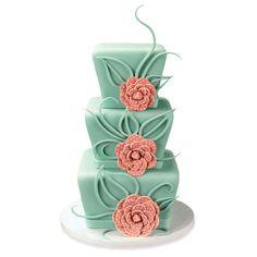 Fondant Stacked Cake | Polka Dot Flower Cake, Beautifull!