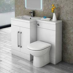 Valencia Bathroom Combination Suite Unit with Basin & Round Toilet - 1100mm