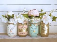Baby Shower Centerpiece, Distressed Mason Jars, Polka Dots & Stripes, Baby Girl, Peach Mint and Gold, Wedding and Bridal, Rustic Table Decor