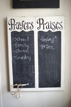 Prayers and Praises Chalkboard verse of week scripture by kijsa