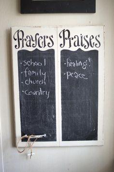 Prayers and Praises Chalkboard verse of week scripture by kijsa