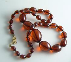 Art Deco Sterling & Cherry Amber Bakelite Bead Necklace