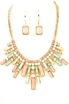 NEW: Mildred Necklace: Acrylic jewel angular bib necklace set
