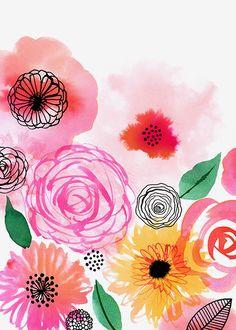 Margaret Berg Art: Pink Floral Black Details