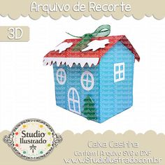 Caixa Casinha, Caixa, Casinha, Santa Claus House Box, Santa Claus, House Box, Santa,  Papai Noel, Noel, Santa Claus, santa, deer, raindeer, Feliz Natal, Merry Christmas,  ornament, enfeites, slide, rena, renas, Trenó, projeto 3d, boxes, box, arquivo de recorte, caixa, 3d,svg, dxf, png, Studio Ilustrado, Silhouette, cutting file, cutting, cricut, scan n cut.