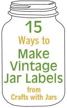 Get all of your crafts with jars in one place. Mason jars crafts, recycled jar crafts, plus many more crafts with jars. Pot Mason, Mason Jar Gifts, Mason Jar Diy, Vintage Jars, Vintage Crafts, Vintage Labels, Vintage Ideas, Vintage Ephemera, Vintage Signs