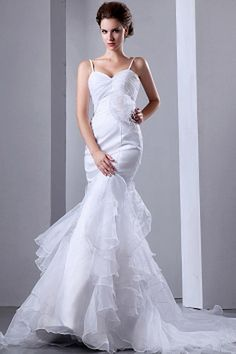 White Trumpet/Mermaid Spaghetti Strap Bridal Dresses ted0176 - SILHOUETTE: Trumpet/Mermaid; FABRIC: Organza; EMBELLISHMENTS: Flower , Ruched; LENGTH: Chapel Train - Price: 147.7700 - Link: http://www.theeveningdresses.com/white-trumpet-mermaid-spaghetti-strap-bridal-dresses-ted0176.html