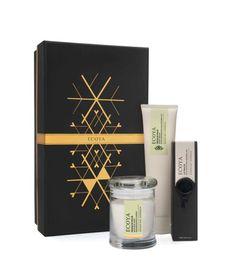 ECOYA Christmas Gift Set - candle, lip balm and hand cream housed in an elegant Christmas box