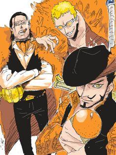 Crocodile, Doflamingo and Mihawk One Piece