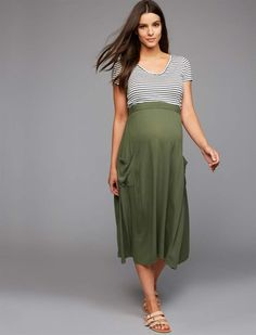 8bd5788299c26 A Pea in the Pod Over Belly Tie Detail Maternity Skirt.#ad  #maternityclothesstylish