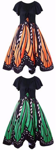 Plus Size Butterfly Print Swing Dress
