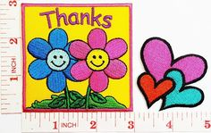 cute heart with sunflower peace Boho Hippie Retro Love Cartoon kid patch Jacket Polo T- shirt DIY Applique Embroidered Sew Iron on patch -- Visit the image link more details.