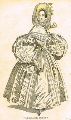 """Lady's Cabinet Fashion Plate - """"CARRIAGE DRESS (WHITE)"""" - Hand-Colored Engraving - 1840"""