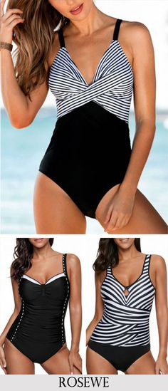 Cross Front Spaghetti Strap One Piece Swimwear.#Rosewe#onepiece#swimwear#swimsuit