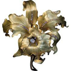 Large Antique Art Nouveau Diamond 18K Gold Orchid Brooch
