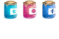 Imagery Investigation: Cute little jar icons. Only has Twitter, Dribble, and Facebook though.
