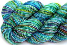 Kettle Dyed Sock Yarn Superwash Merino Fingering by LadybugFiber, $22.00
