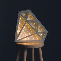 Lampe Diamant aus Holz als romantische Wohndeko / wooden lamp in shape of a diamond, romantic home decor made by Little Lights via DaWanda.com