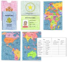 Student passport - would be perfect for French 2s and a imaginary travel project. Students could list out the country names (in French) and then draw pictures of the countries, with key cities included.