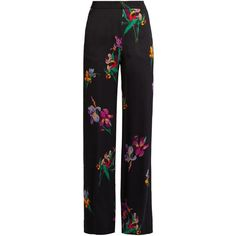 Etro Floral-print wide-leg satin trousers ($515) ❤ liked on Polyvore featuring pants, trousers, black multi, flower print pants, floral print wide leg pants, loose fit pants, etro pants and wide-leg pants