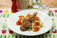 Sprøstekte kyllinglår med pastasalat