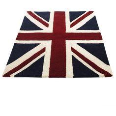 Large Union Jack Rug ($225) ❤ liked on Polyvore featuring home, rugs, furniture, home decor, decor, union jack area rug, british flag rug and union jack rug
