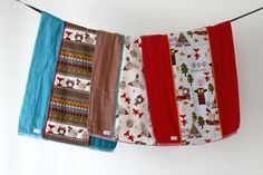 Baby Burp Cloth Gift Set of 3 Summer Camp Animals.  by owesley