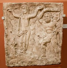 Hercules and Hesione. Part of a grave monument. First half of the 3rd century A.D.