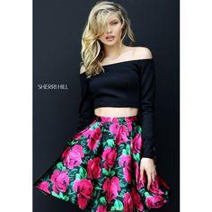 Black Red Sherri Hill 50583 Short Print Homecoming Dress via Polyvore featuring dresses, short length dresses, sherri hill, short dresses, pattern dress and mixed print dress