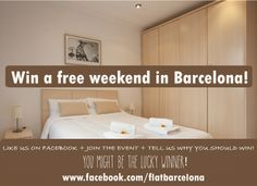 Win two nights with #FlatBarcelona! More info at: https://www.facebook.com/events/591195130929379/