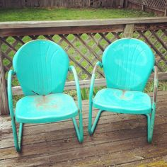 Acquired awesome vintage lawn chairs similar to these  but wayyyy worse  shape  Having themVintage Metal Lawn Chair  1950s Retro Patio Summer Chairs  . Antique Motel Chairs. Home Design Ideas