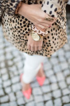 leopard and a bright shoe