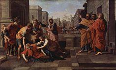 La muerte de Saphire, 1654-1656 - Nicolas Poussin. Titulo original: La Mort de Saphire
