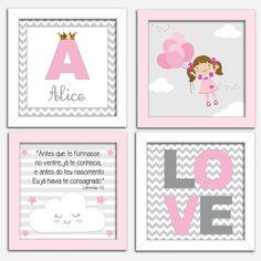 Quadro infantil - Quarto rosa e cinza Baby Bedroom, Baby Room Decor, Girls Bedroom, Watercolor Lettering, Baptism Party, Printable Wall Art, Girl Room, Alice In Wonderland, Decoration