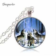 Wolf pendant necklace animal jewelry glass cabochon pendants necklaces silver long chain neckless women punk jewellery wholesale
