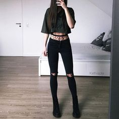 Graphic crop top with high-rise fishnet tights, distressed black jeans & Dr Martens combat boots by kathiischr (Top Moda Boots) Edgy Outfits, Mode Outfits, Grunge Outfits, Grunge Fashion, Teen Fashion, Korean Fashion, Summer Outfits, Girl Outfits, Fashion Outfits